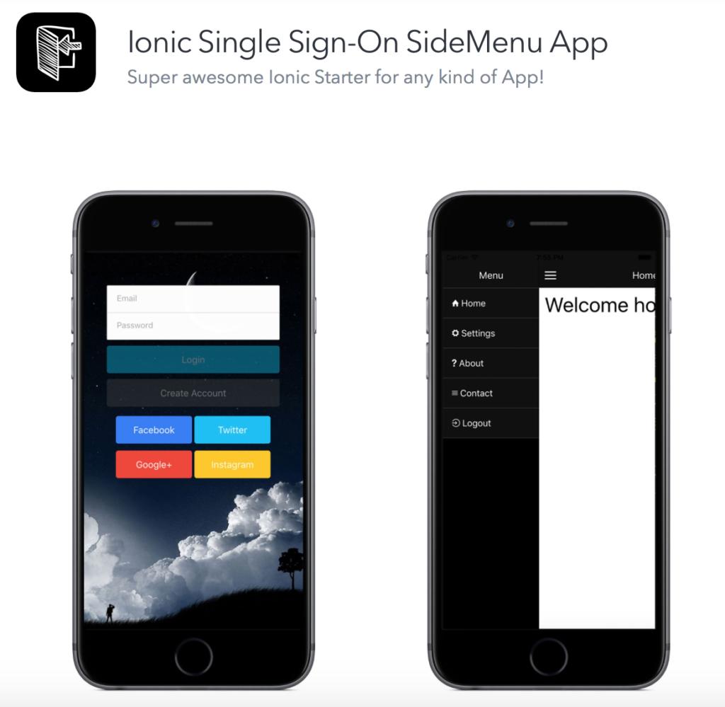Ionic SideMenu Starter